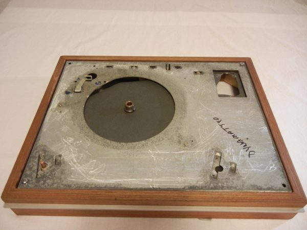 Most hardware is removed and cleaned ultrasonically.  Then the old TD-160 top plate is removed and the old adheisve residue sanded away.