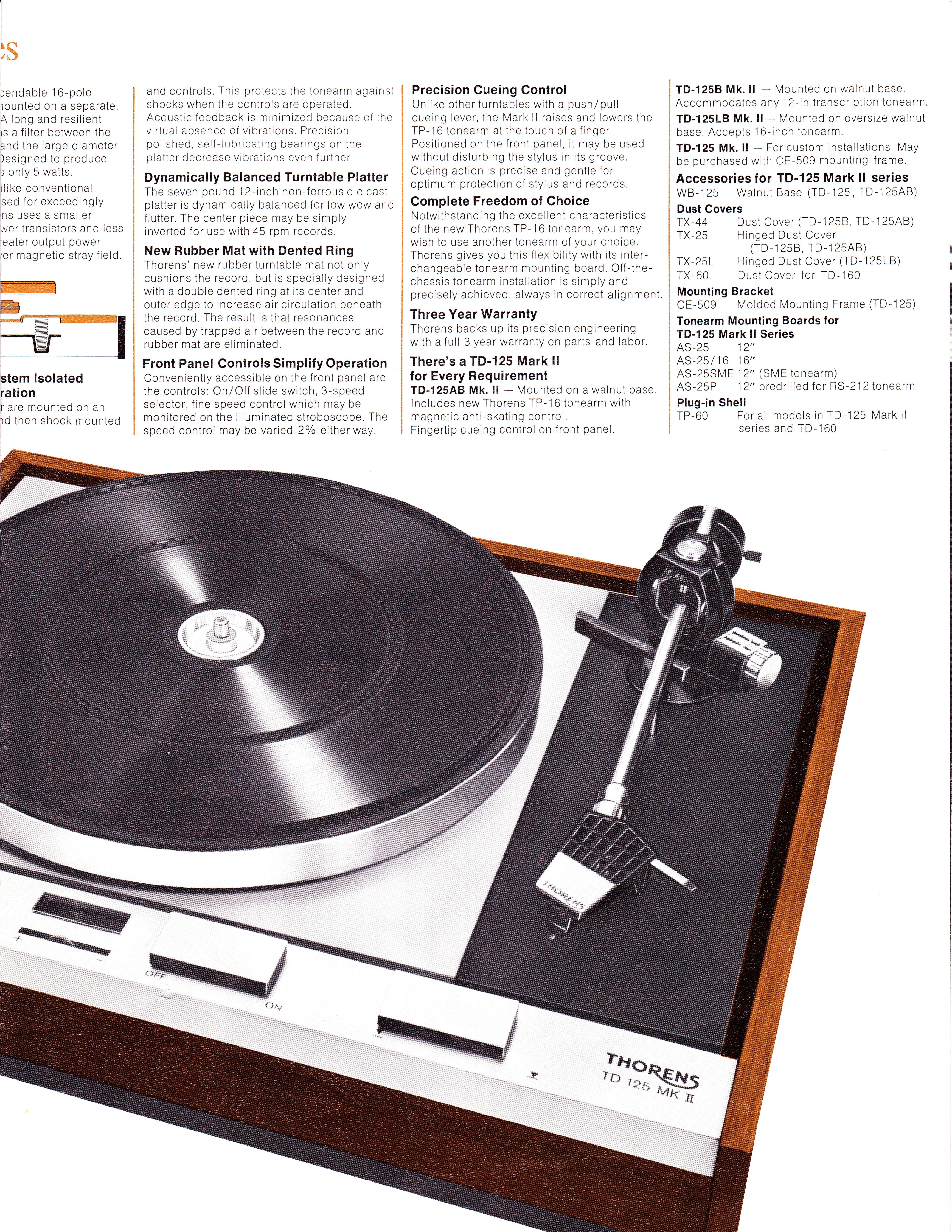 Thorens td 125 Mkii Turntable For Sale Thorens Td-125 Mkii And